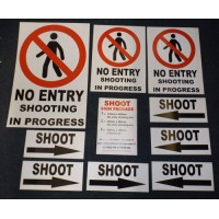 SHOOTING Sign Assorted Pack (SELF ADHESIVE VINYL or COREX option)