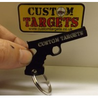 Custom Targets Black Pistol Acrylic Keyring