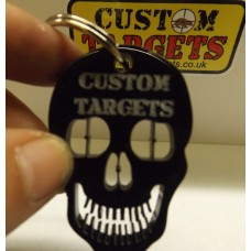 Custom Targets Black Skull Acrylic Keyring